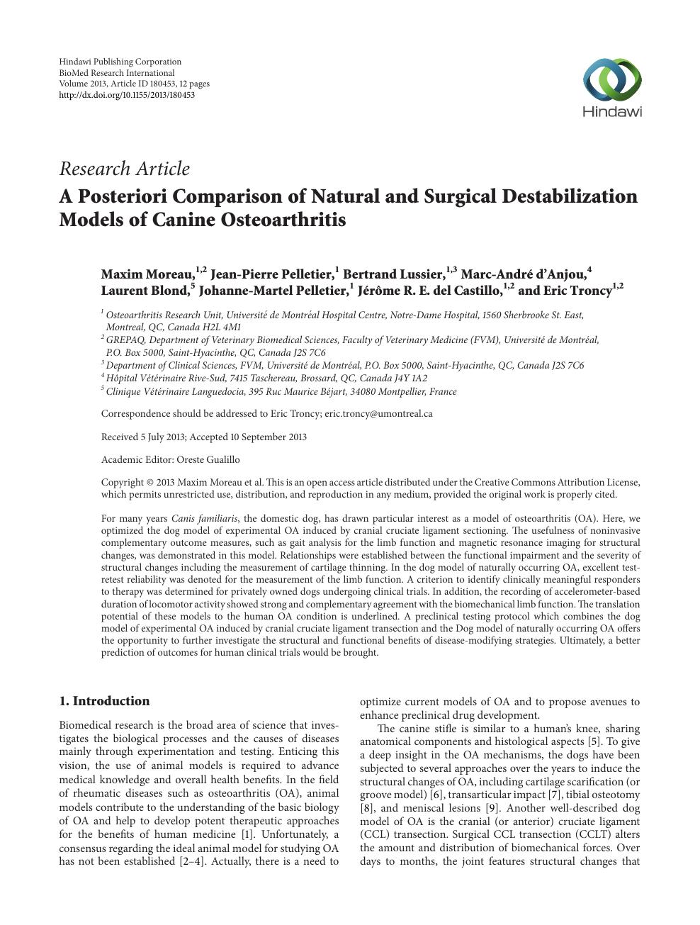 A Posteriori Comparison of Natural and Surgical Destabilization