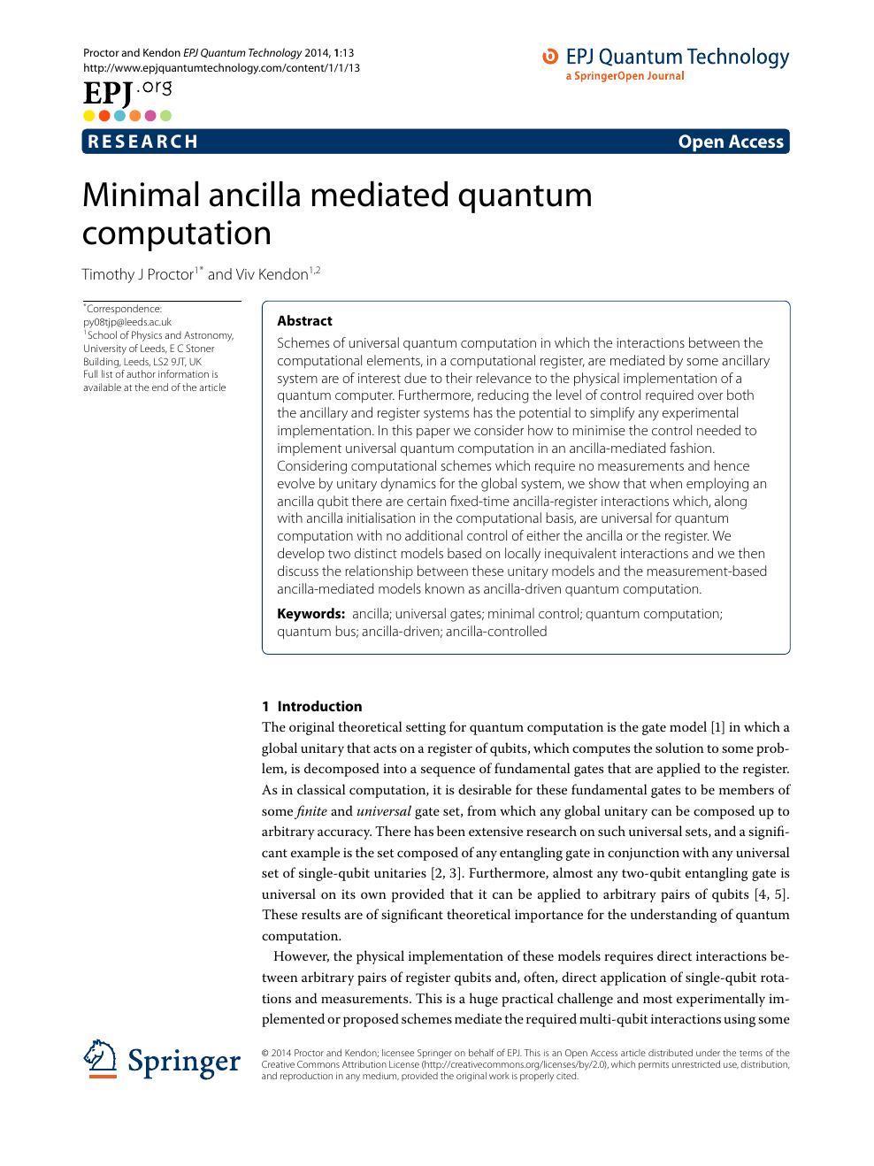 Minimal ancilla mediated quantum computation – topic of