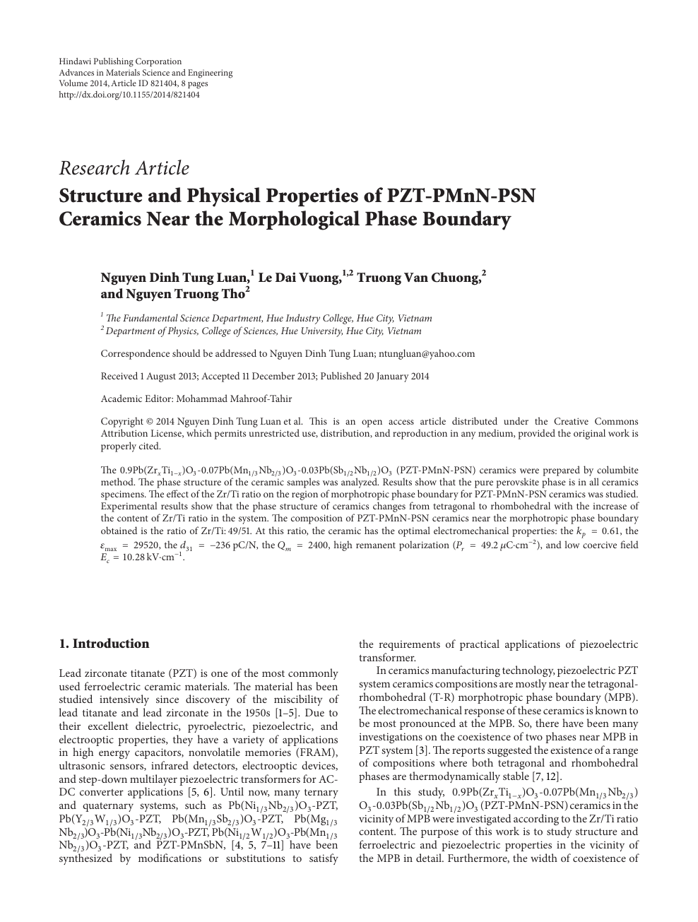 Structure and Physical Properties of PZT-PMnN-PSN Ceramics