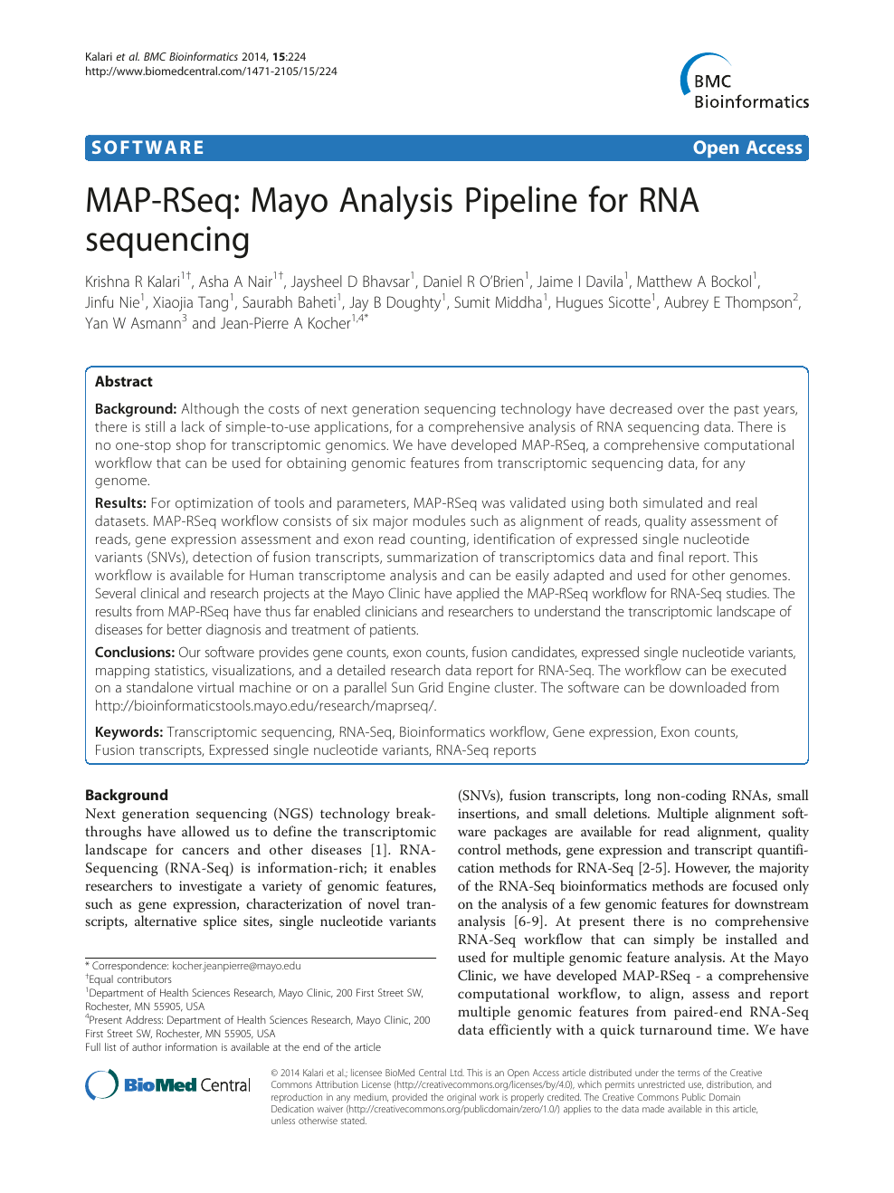 MAP-RSeq: Mayo Analysis Pipeline for RNA sequencing – topic of