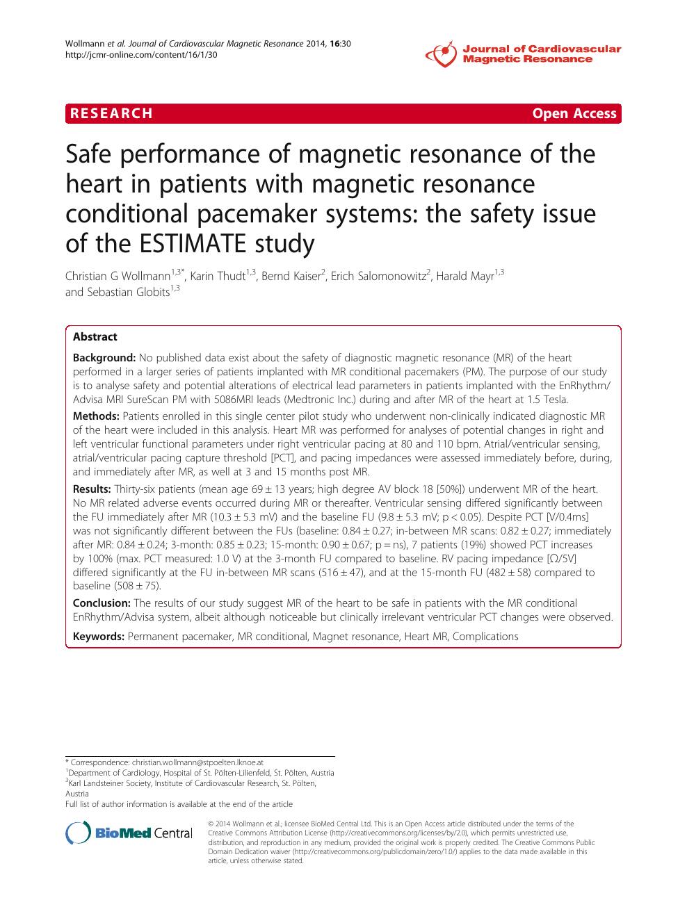 Safe performance of magnetic resonance of the heart in