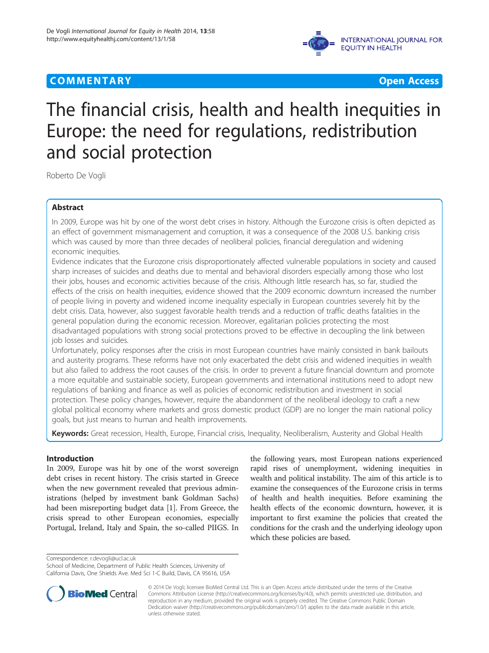 The financial crisis, health and health inequities in Europe