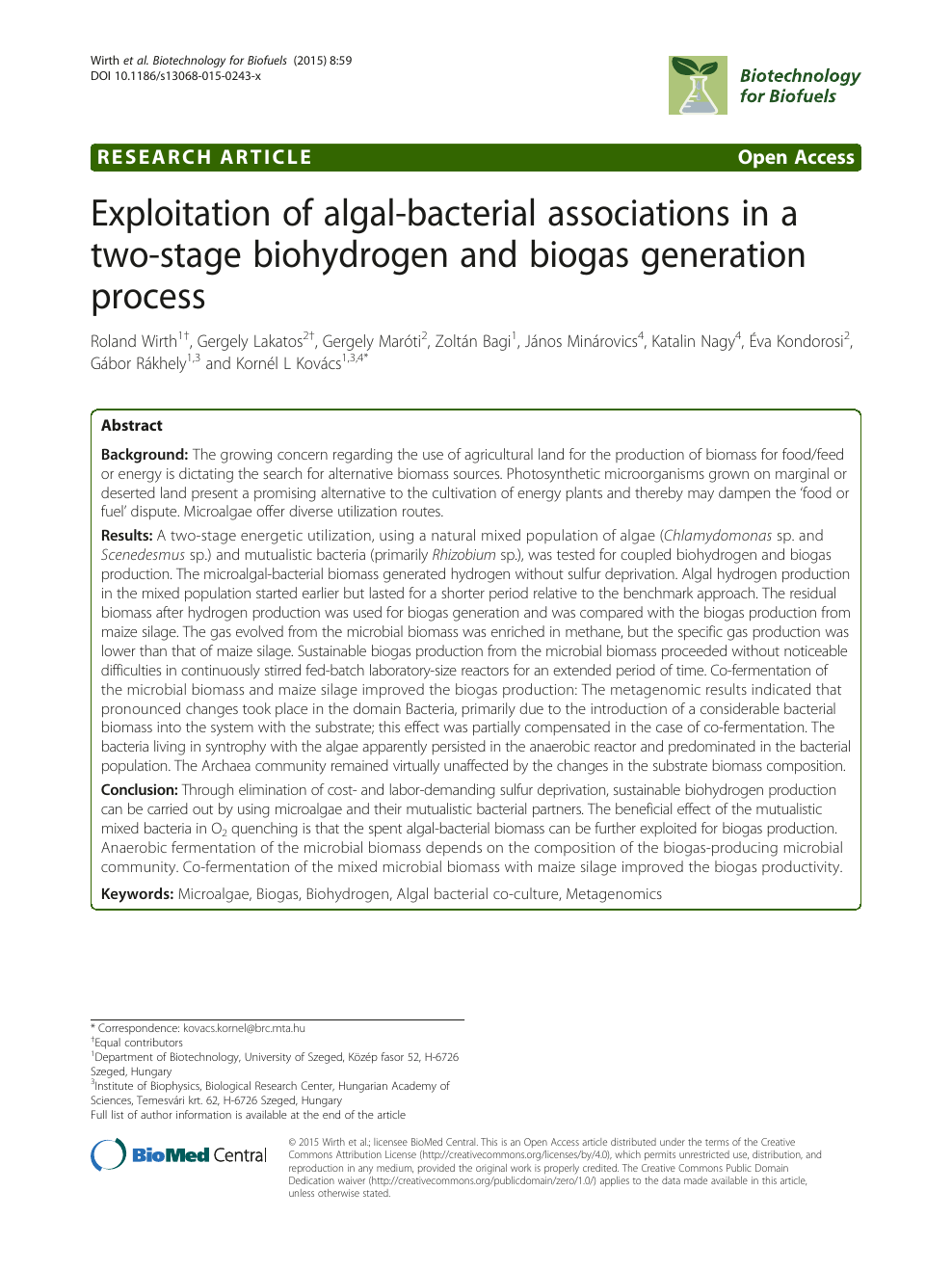 Exploitation of algal-bacterial associations in a two-stage