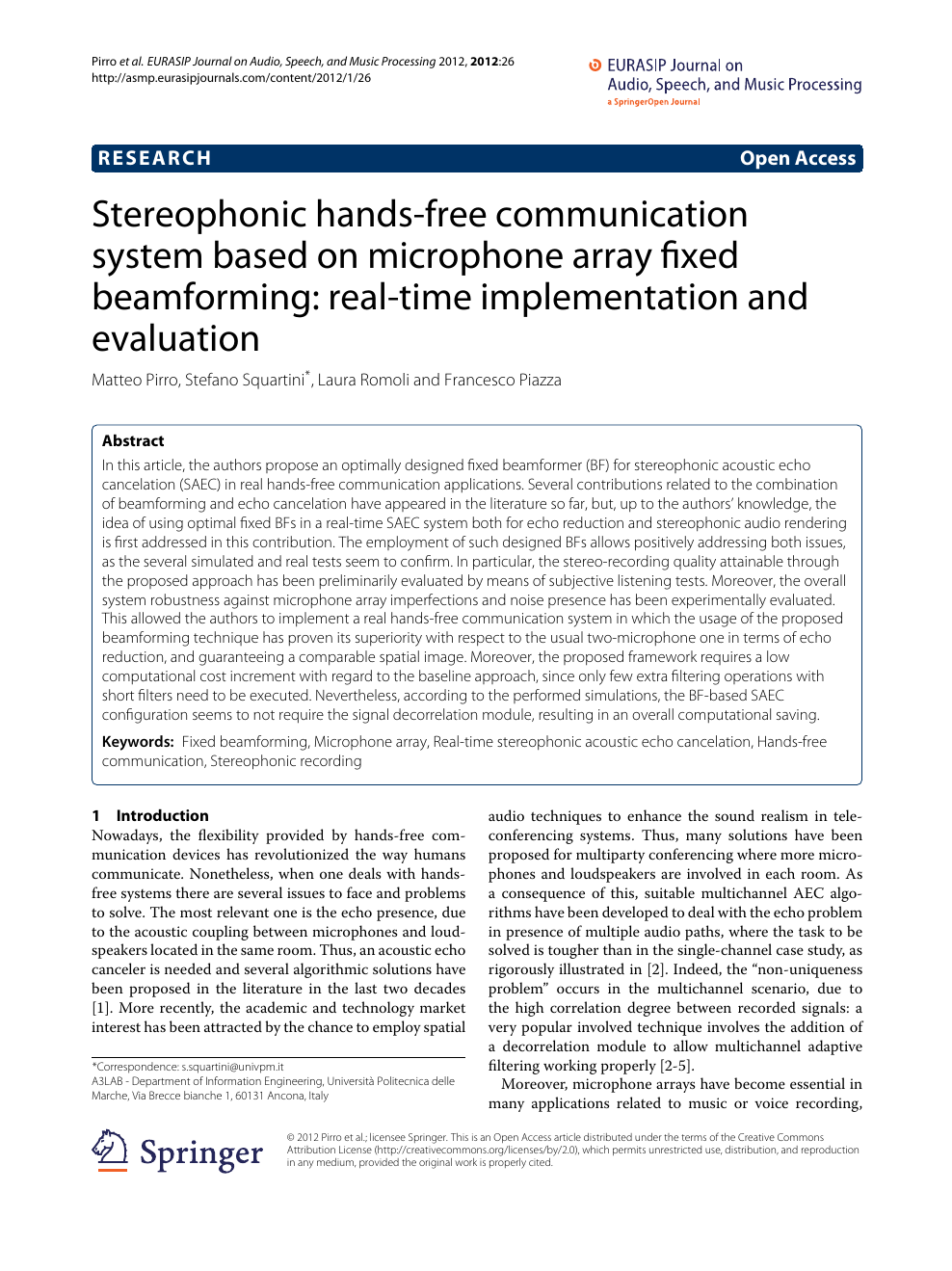 Stereophonic hands-free communication system based on