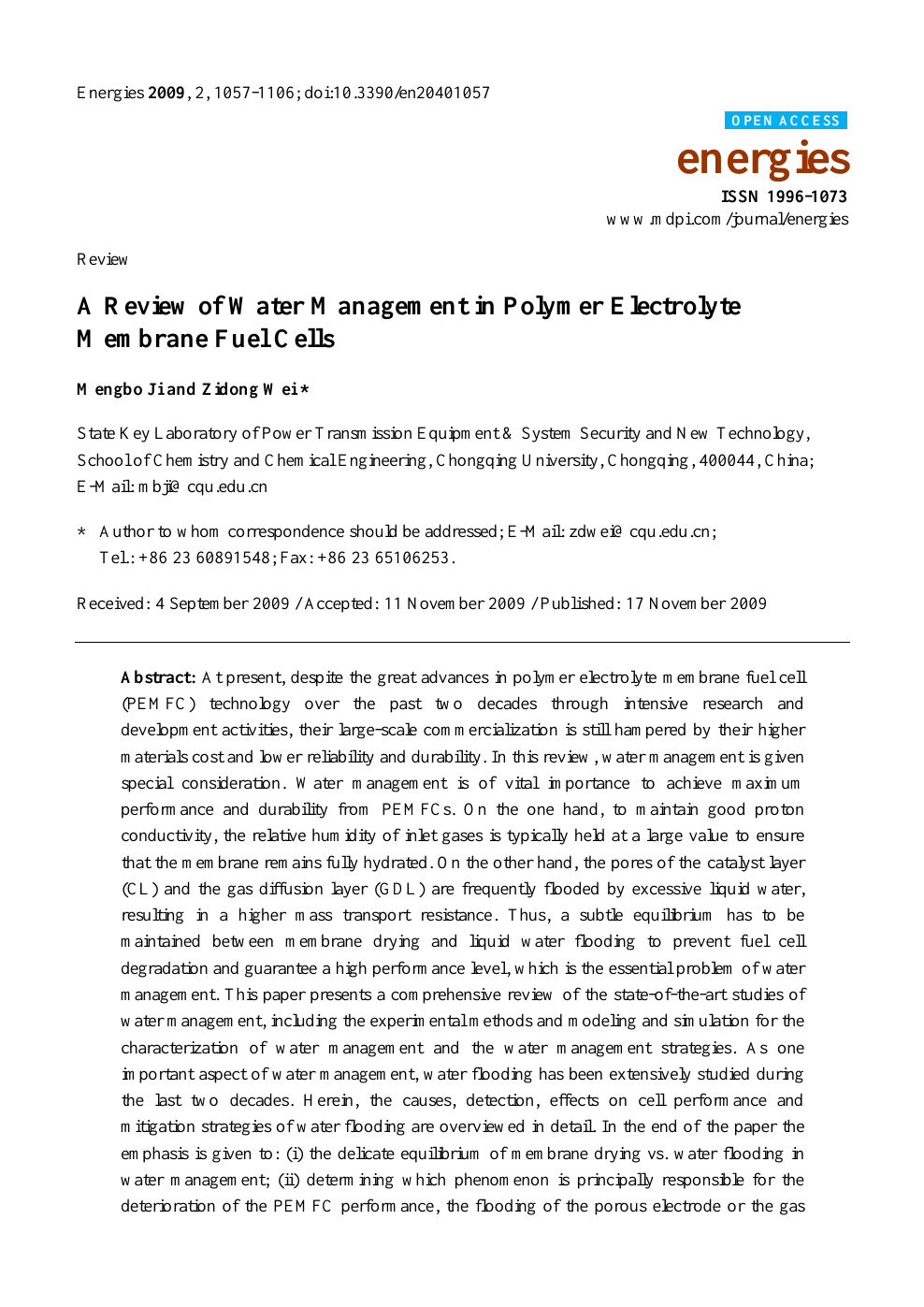 A Review of Water Management in Polymer Electrolyte Membrane