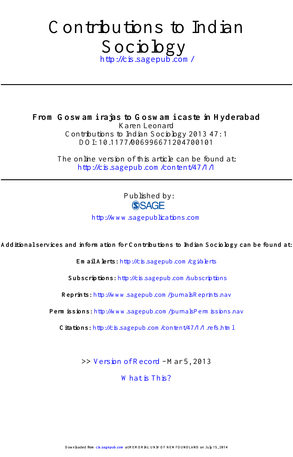 From Goswami rajas to Goswami caste in Hyderabad – topic of research