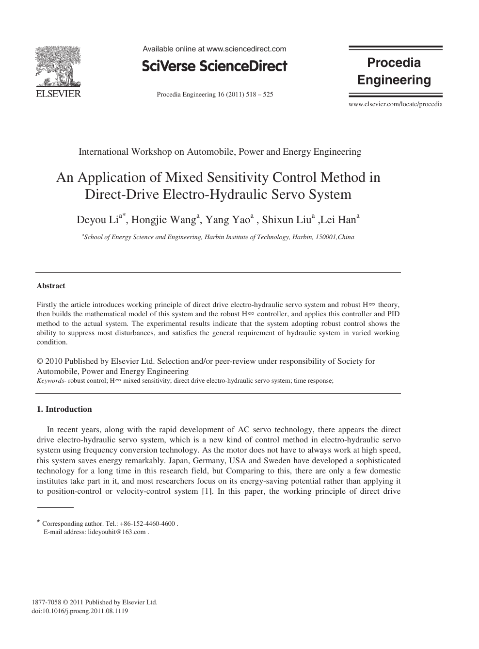 An Application of Mixed Sensitivity Control Method in Direct-Drive