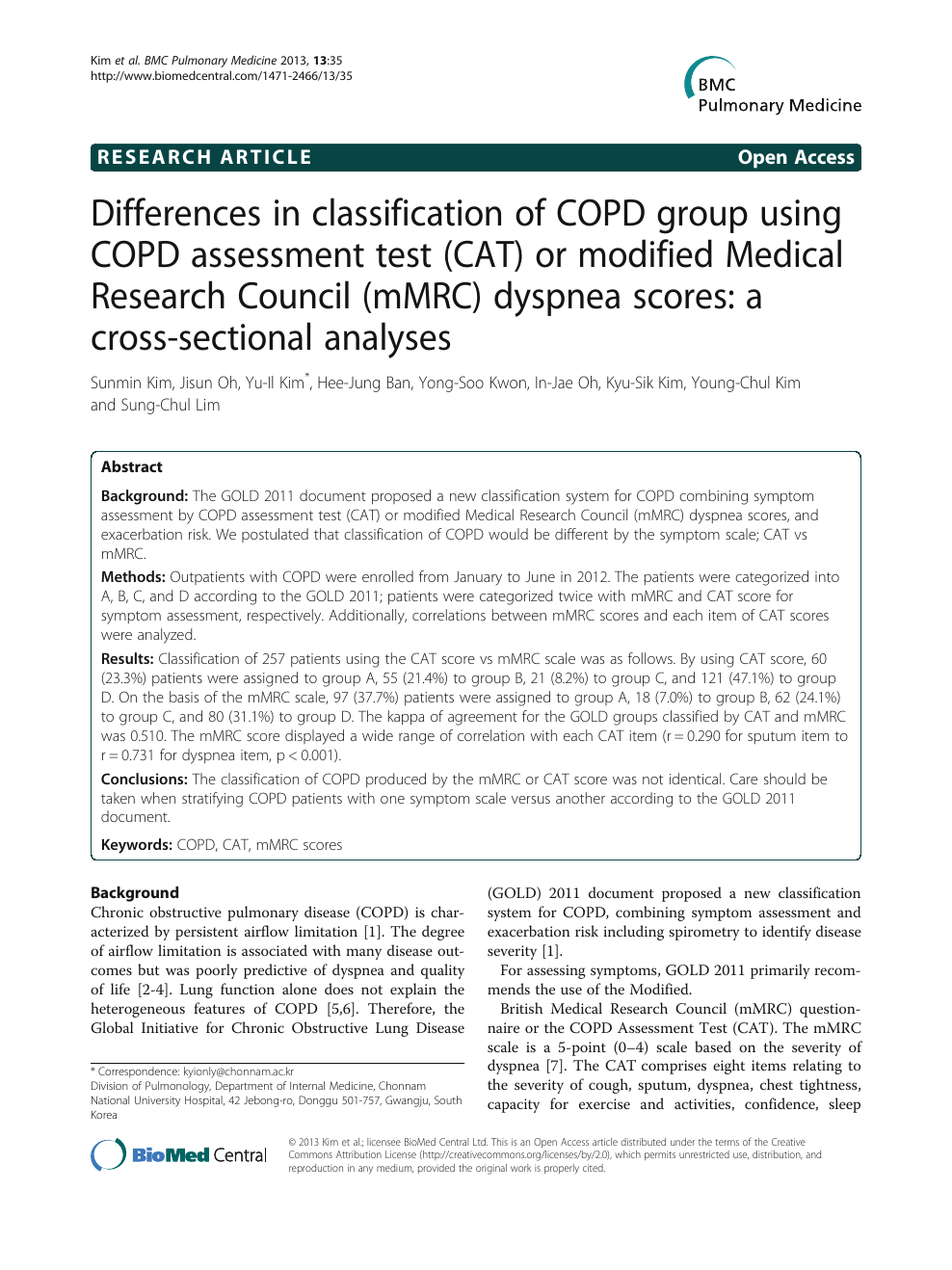 Differences in classification of COPD group using COPD