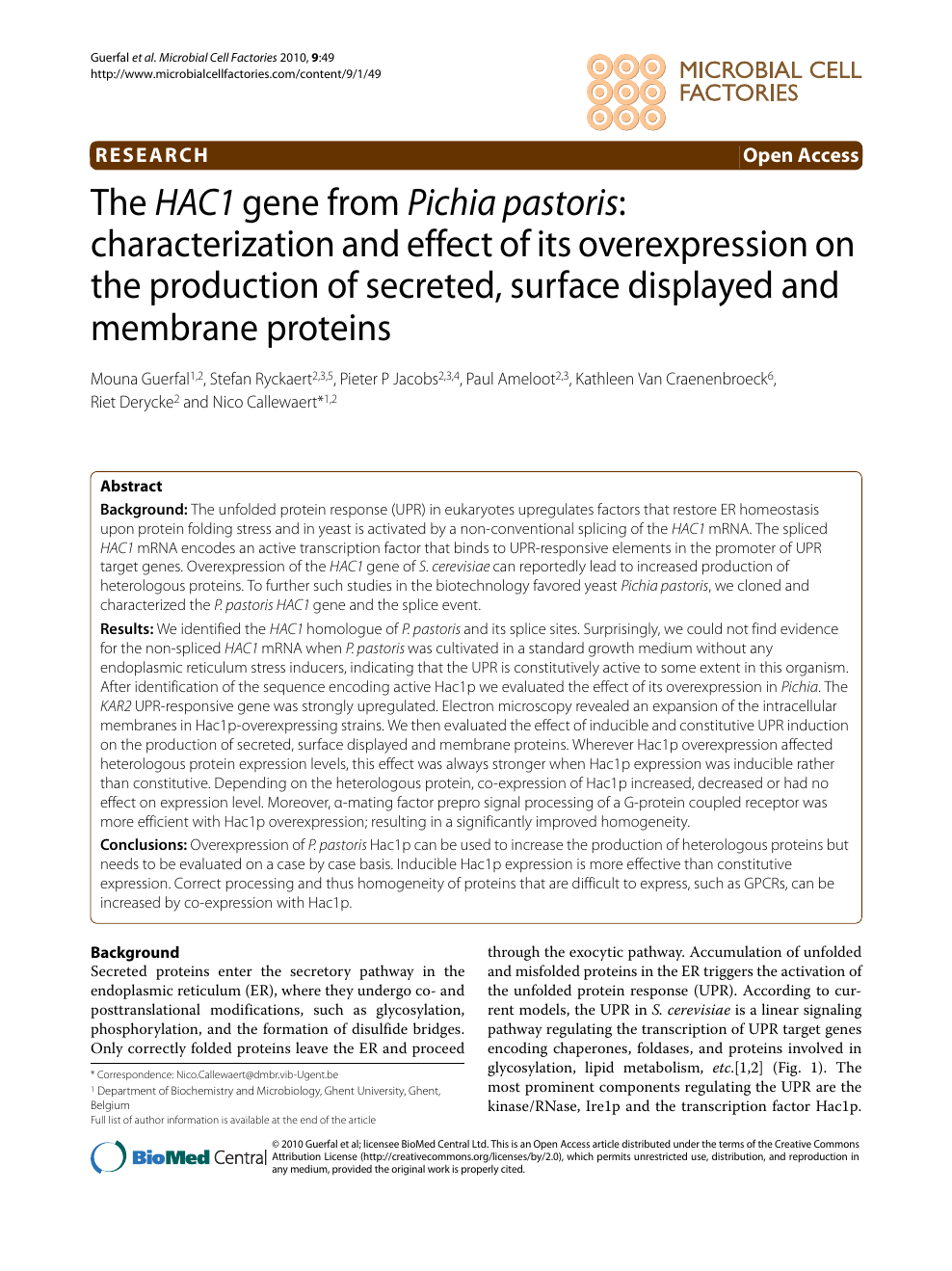 The HAC1 gene from Pichia pastoris: characterization and effect of