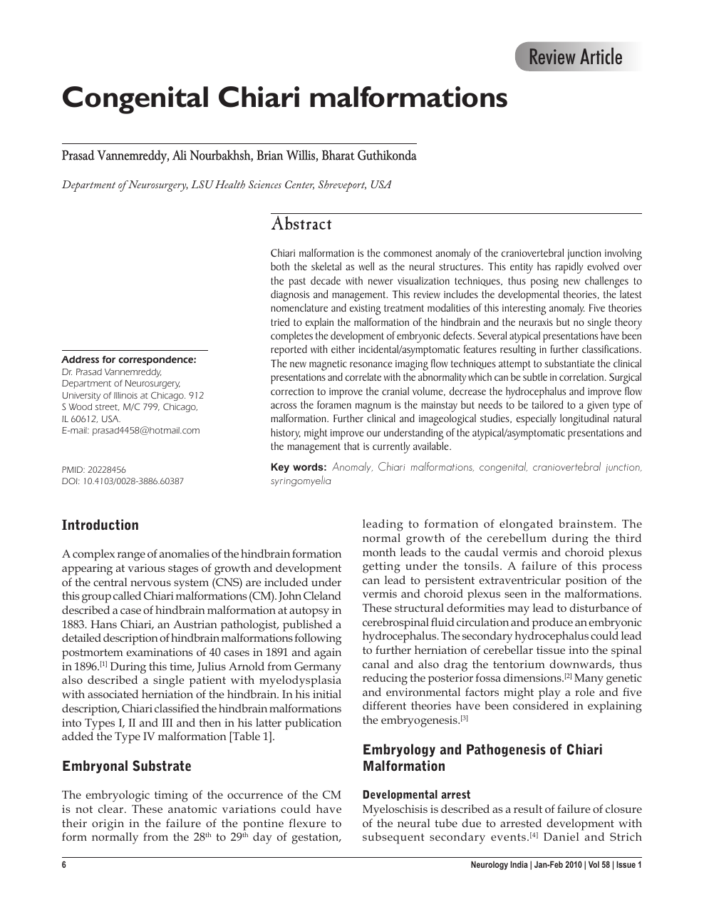 Congenital Chiari malformation s: A review – topic of