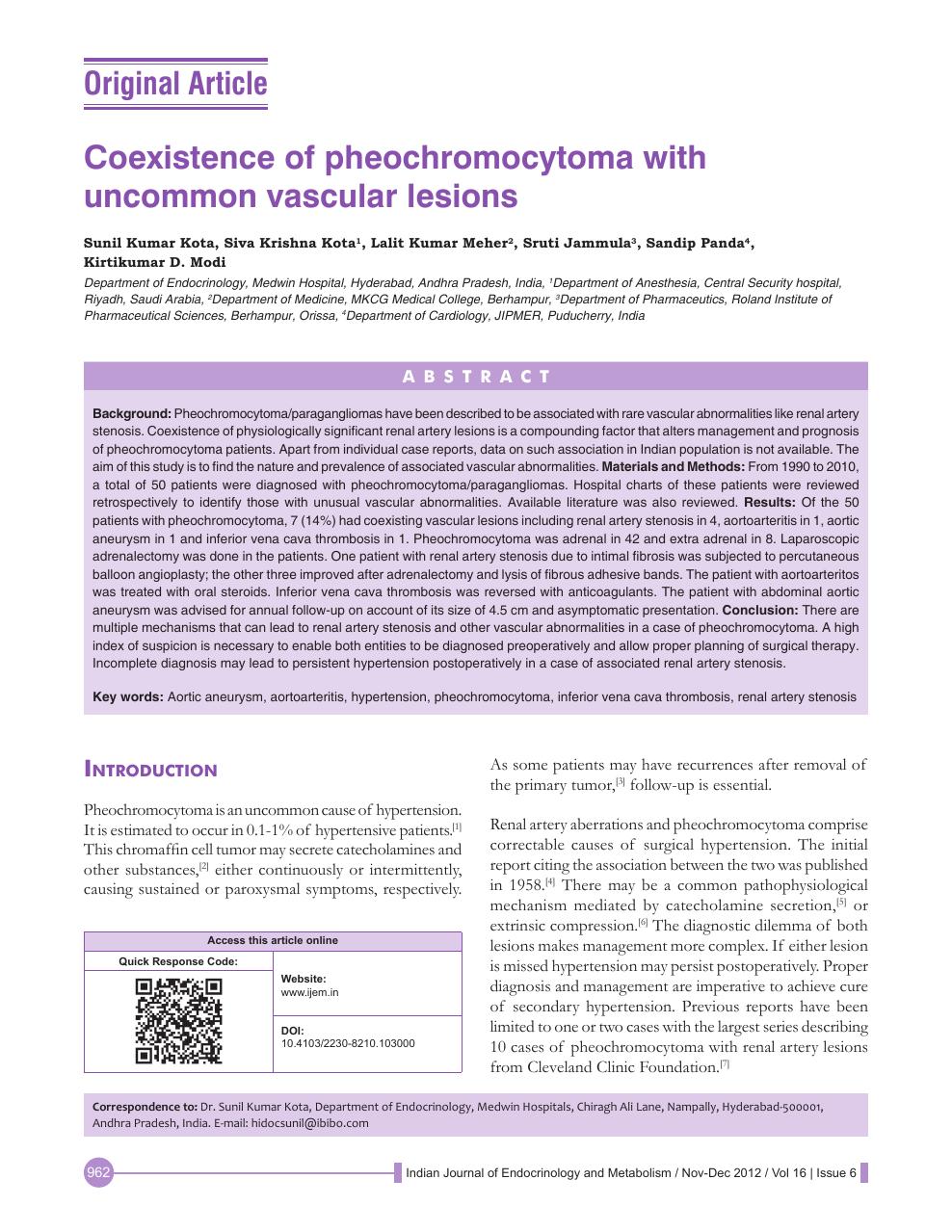 Coexistence of pheochromocytoma with uncommon vascular