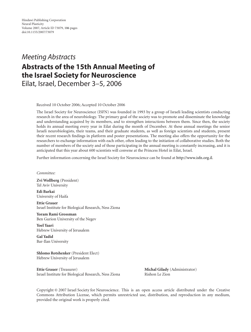 Abstracts of the 15th Annual Meeting of the Israel Society
