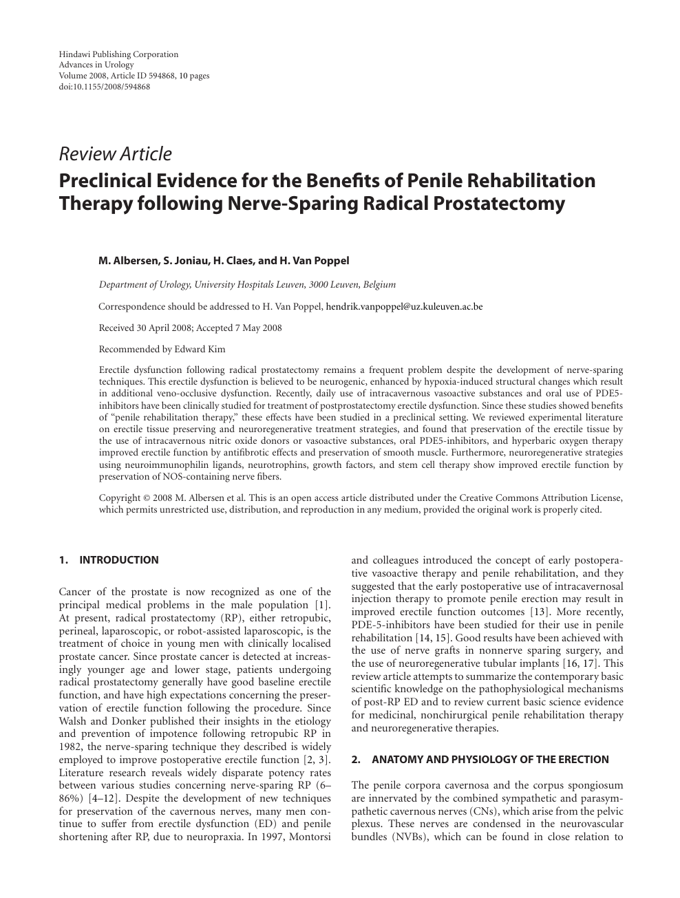 Preclinical Evidence For The Benefits Of Penile Rehabilitation