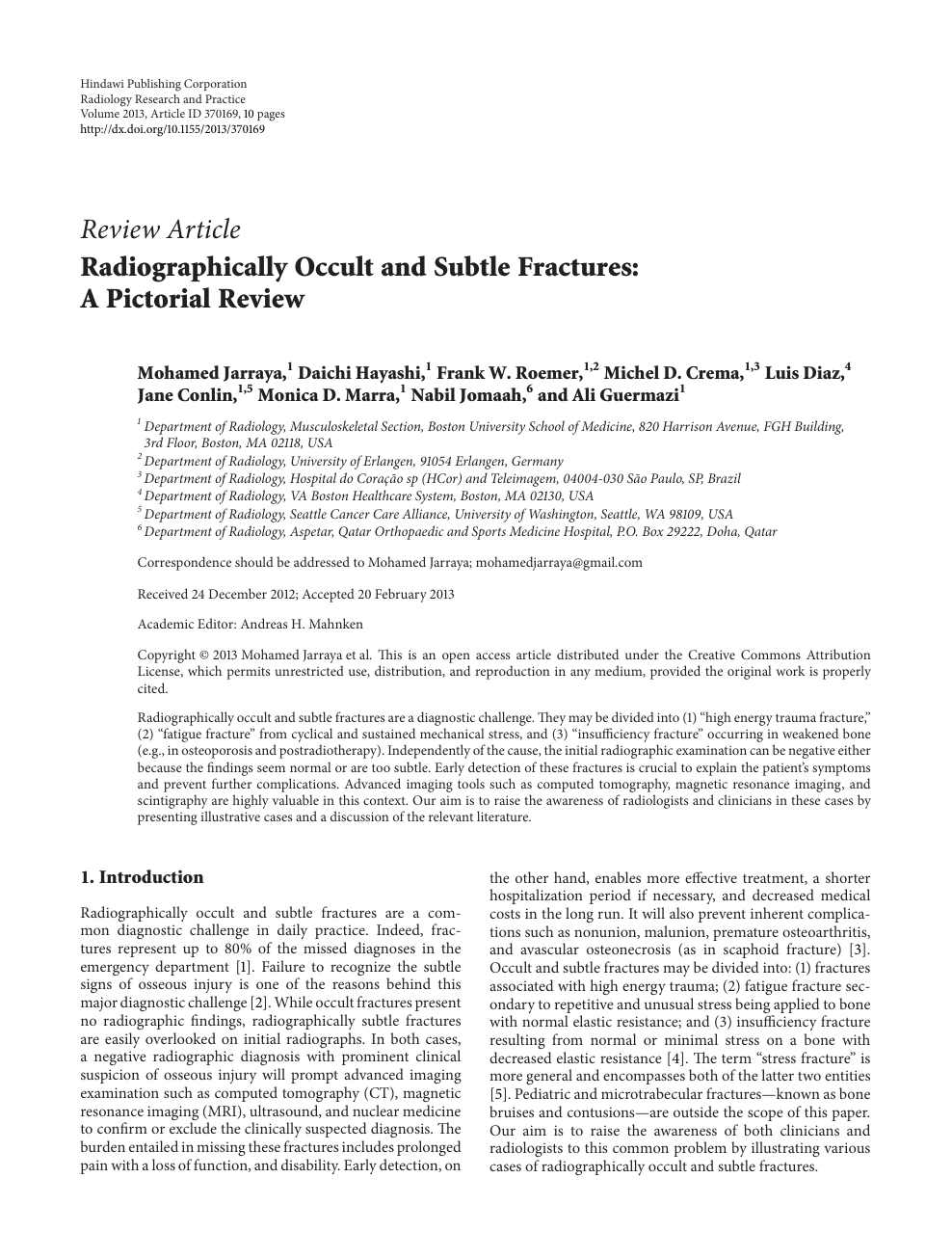 2777d4f1bf Radiographically Occult and Subtle Fractures: A Pictorial Review ...