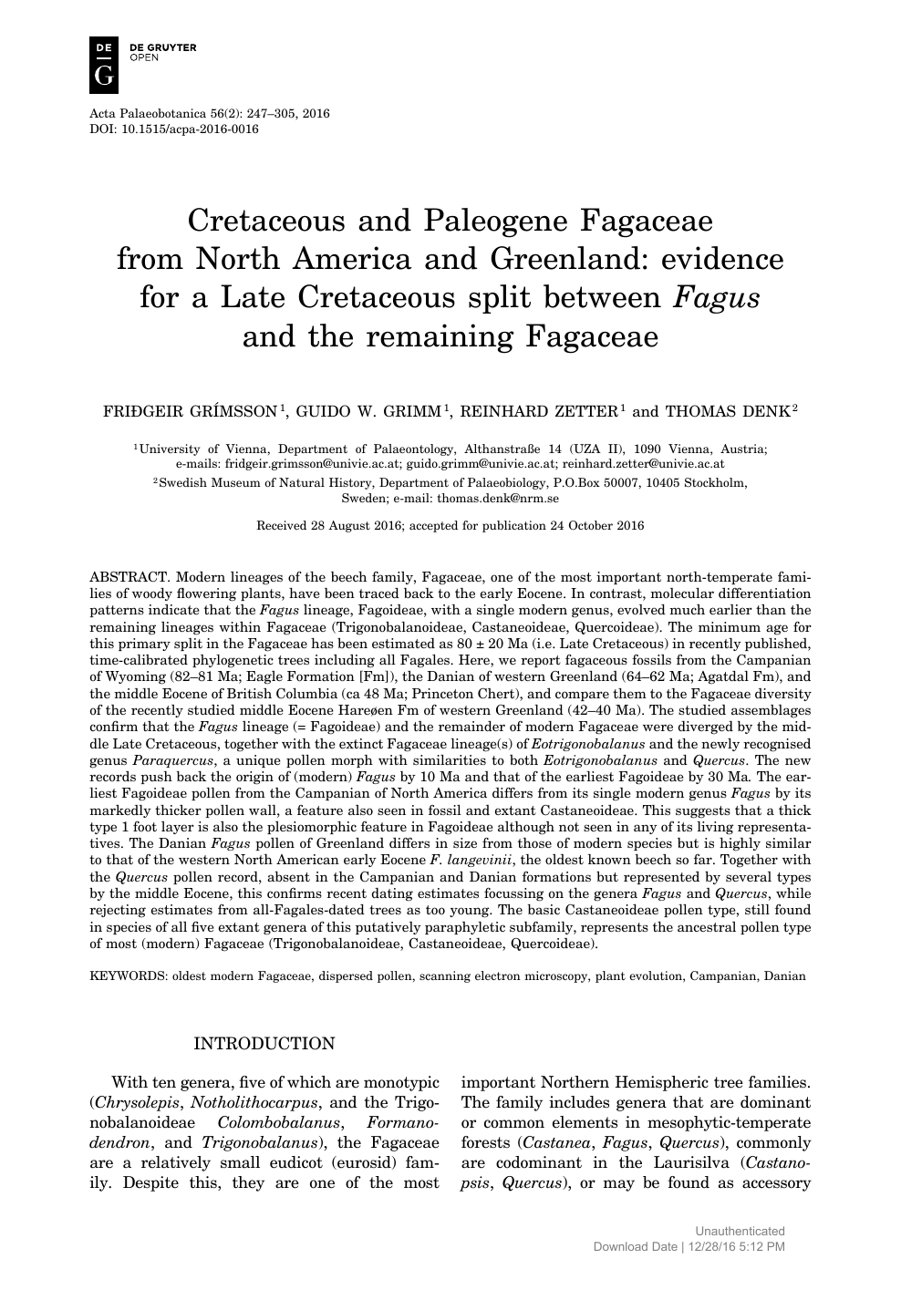 Cretaceous and Paleogene Fagaceae from North America and Greenland