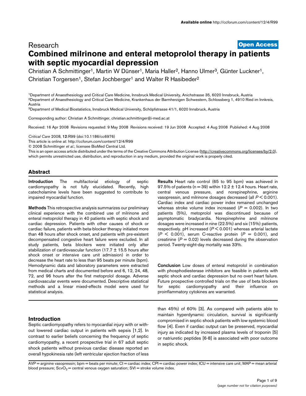 Combined milrinone and enteral metoprolol therapy in