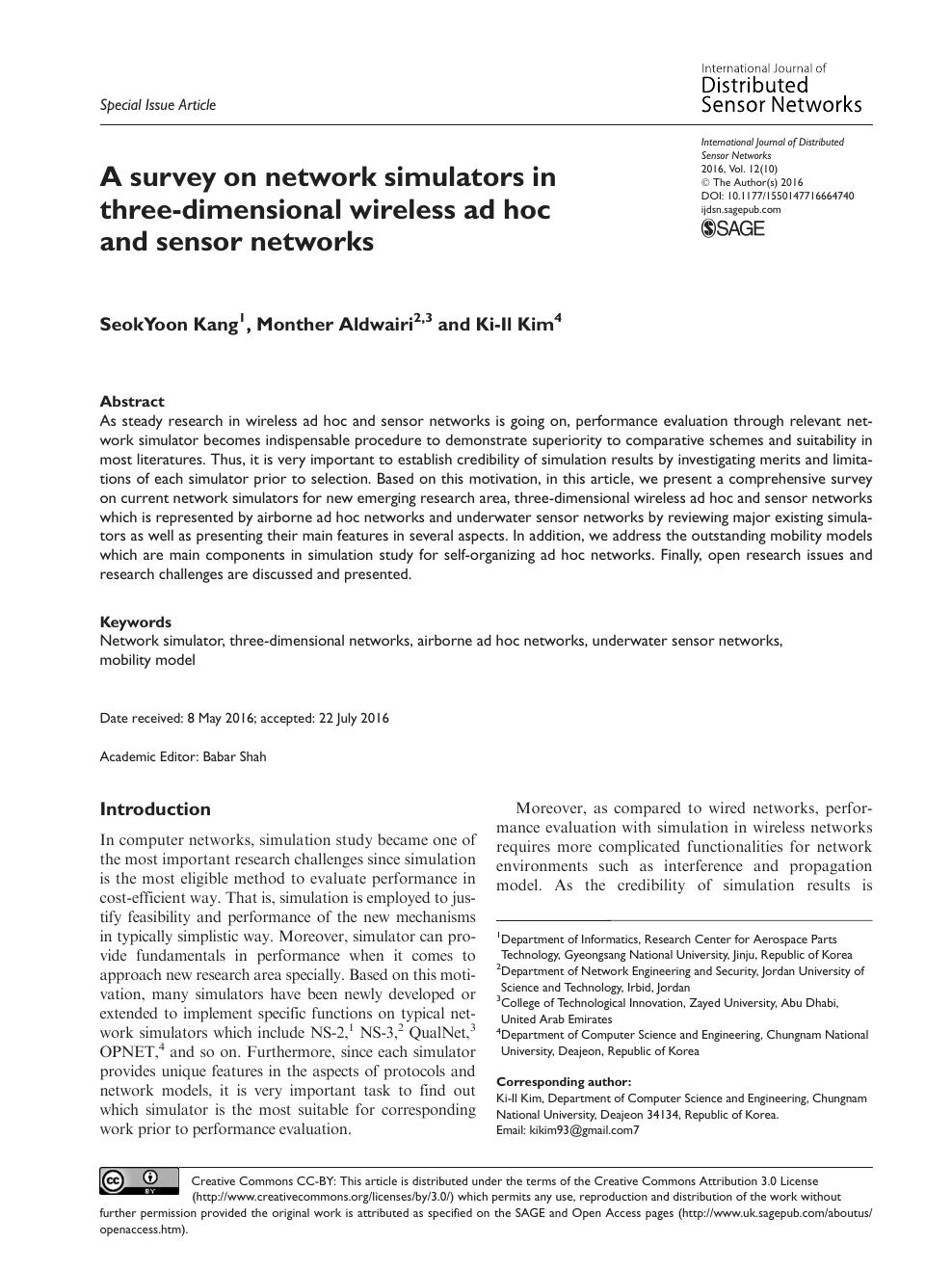 A survey on network simulators in three-dimensional wireless