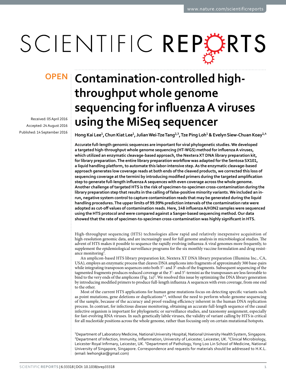 Contamination-controlled high-throughput whole genome