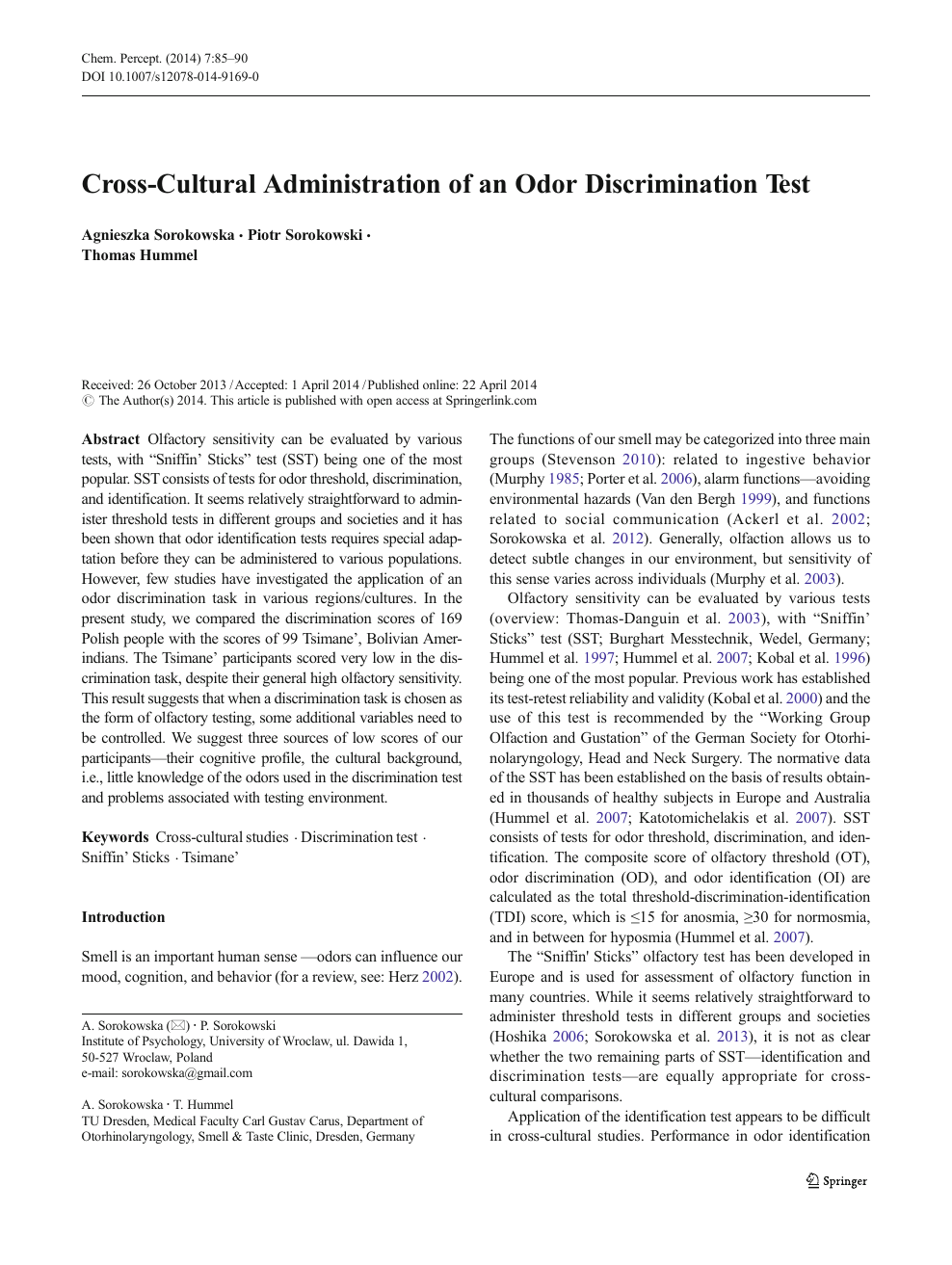 Cross-Cultural Administration of an Odor Discrimination Test