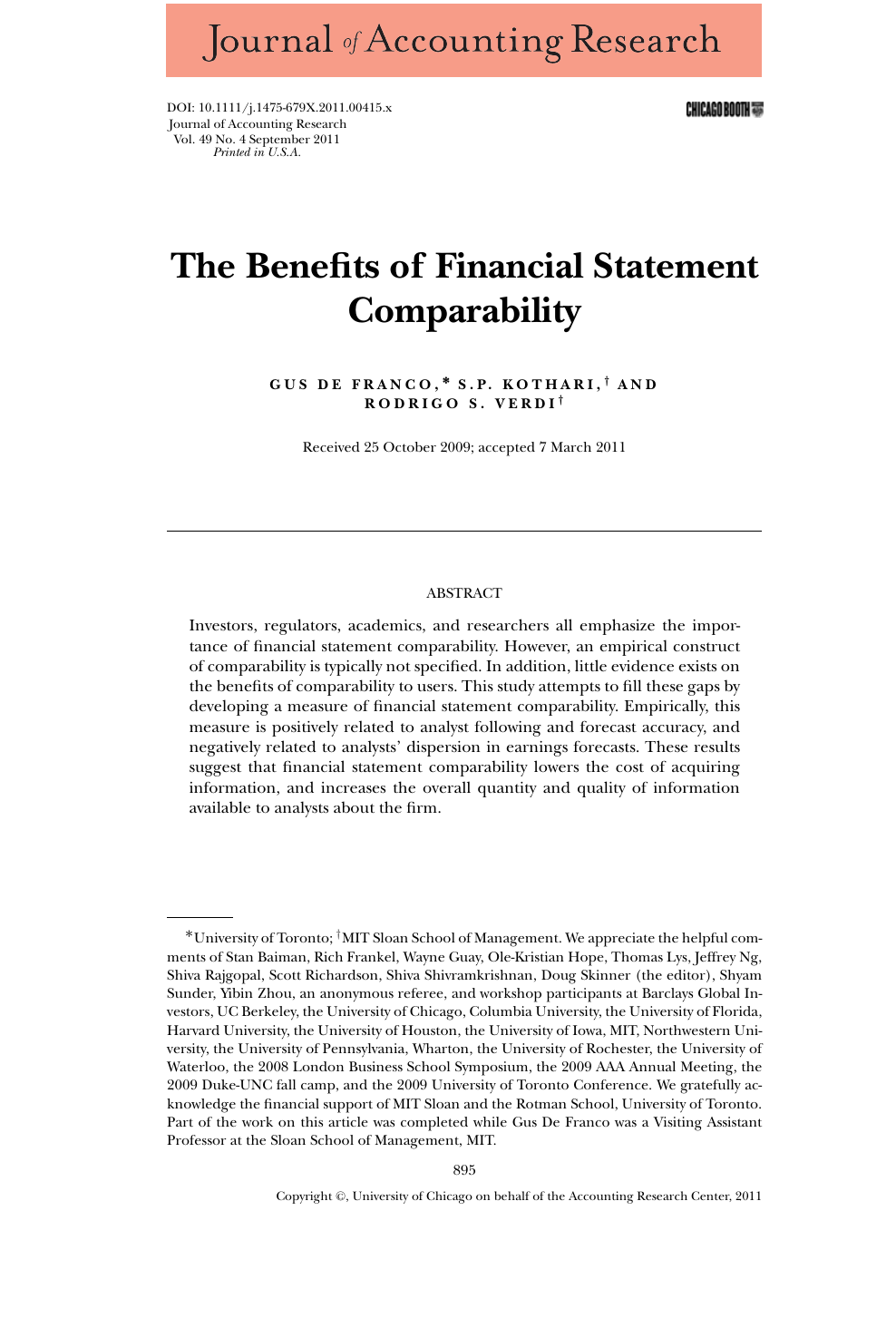 The Benefits of Financial Statement Comparability – topic of