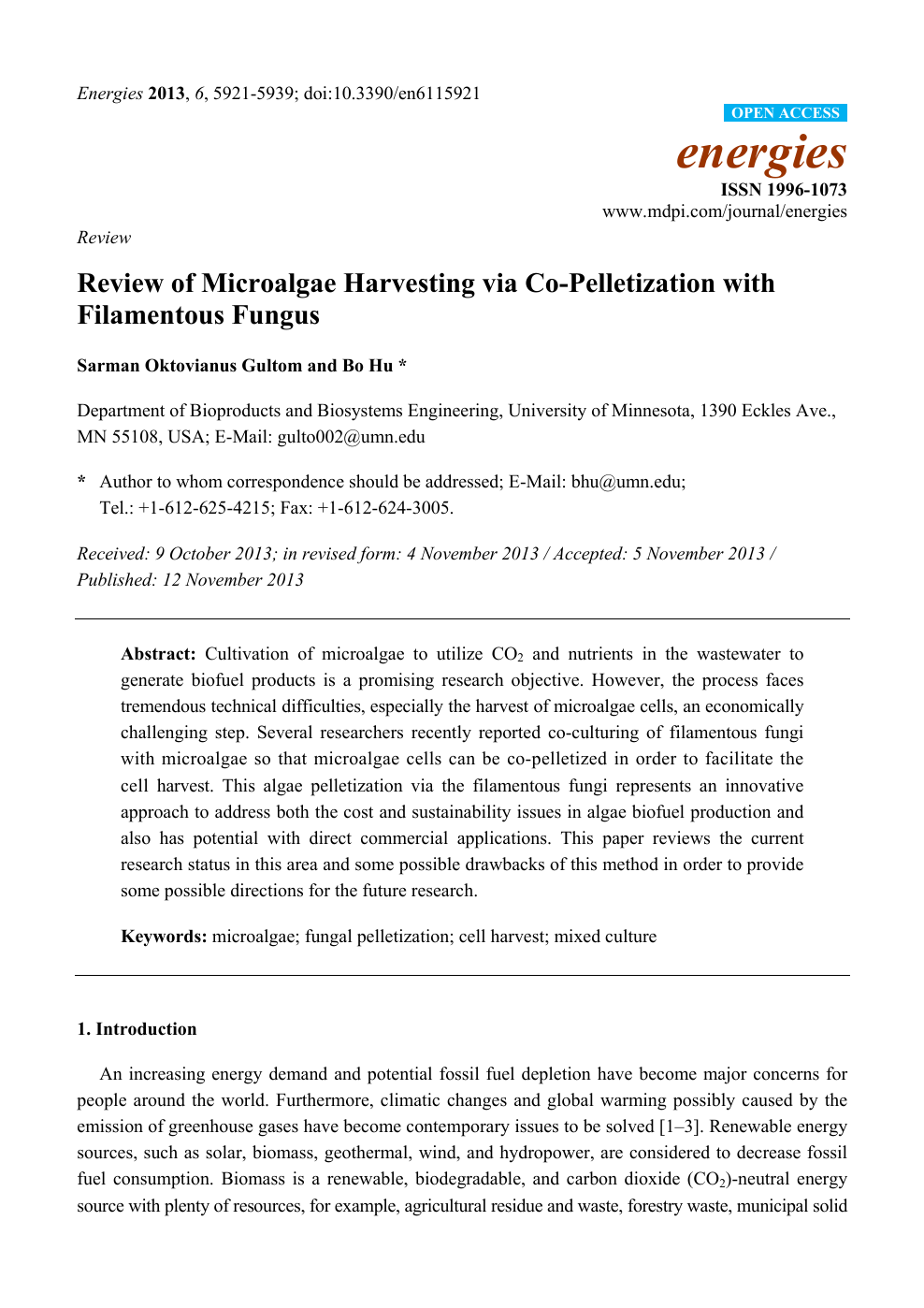 Review of Microalgae Harvesting via Co-Pelletization with