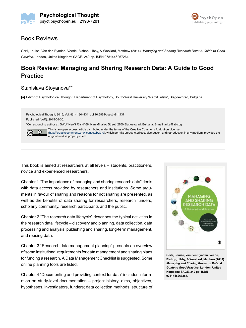 Book Review: Managing and Sharing Research Data: A Guide to Good