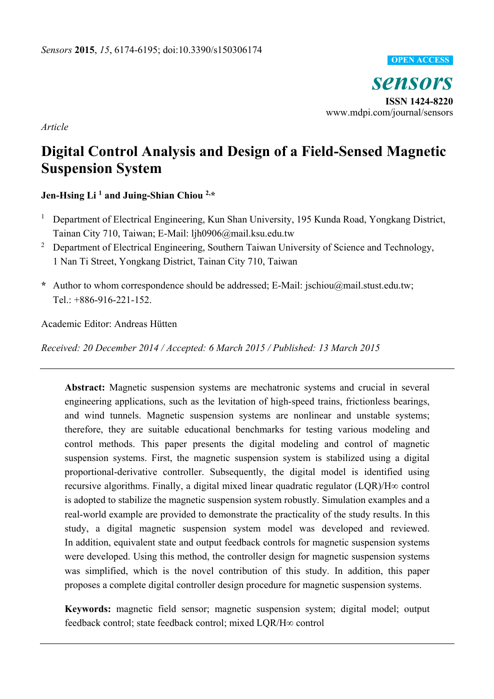 Digital Control Analysis And Design Of A Field Sensed Magnetic Suspension System Topic Of Research Paper In Mechanical Engineering Download Scholarly Article Pdf And Read For Free On Cyberleninka Open Science Hub
