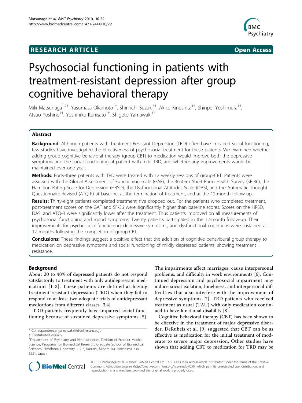 Psychosocial functioning in patients with treatment
