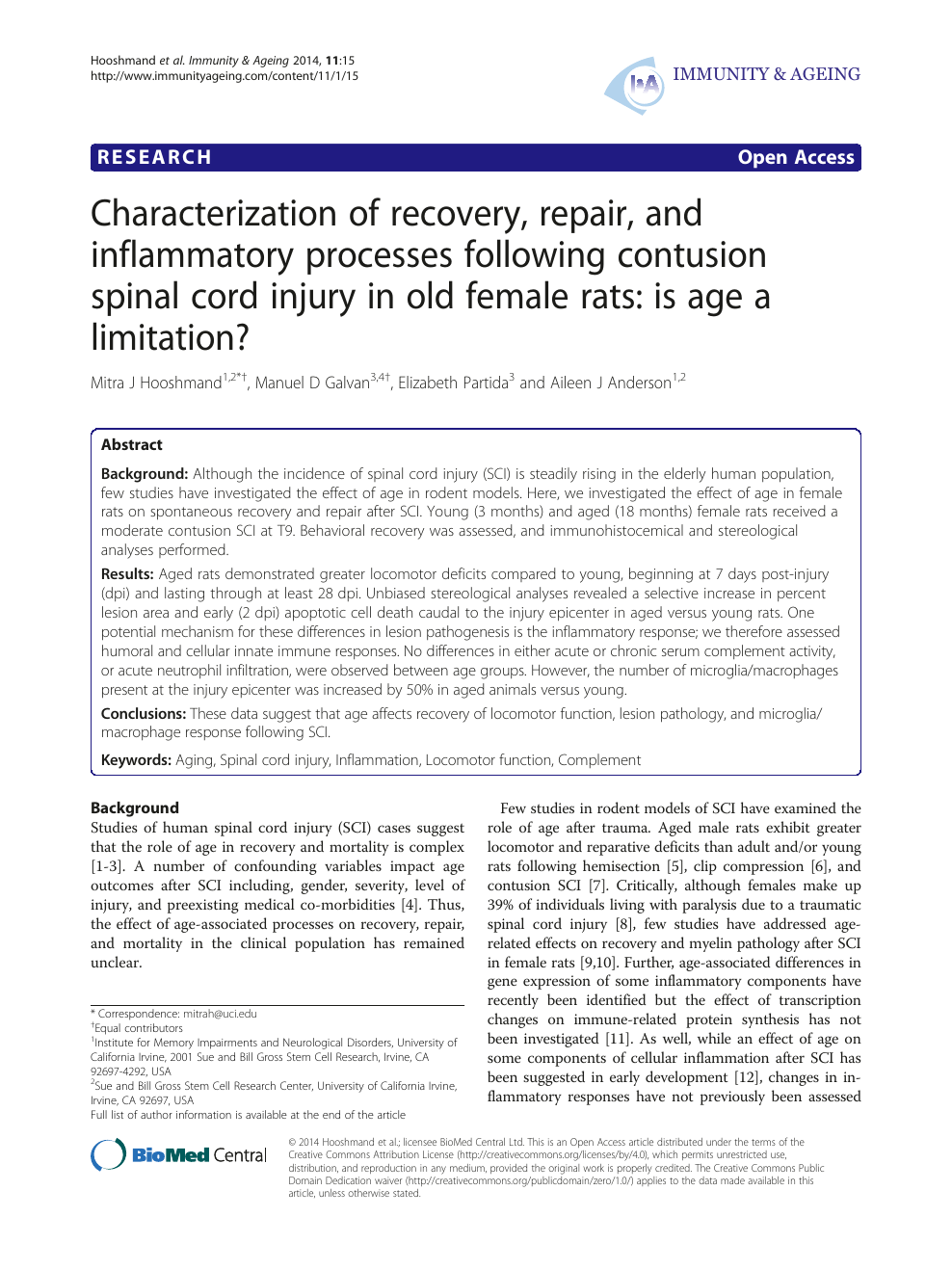 Characterization of recovery, repair, and inflammatory