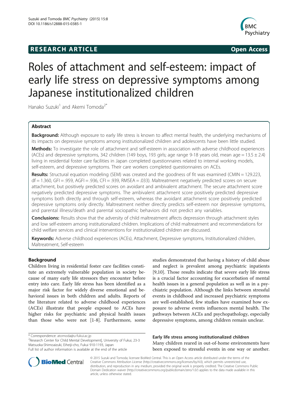 Roles of attachment and self-esteem: impact of early life