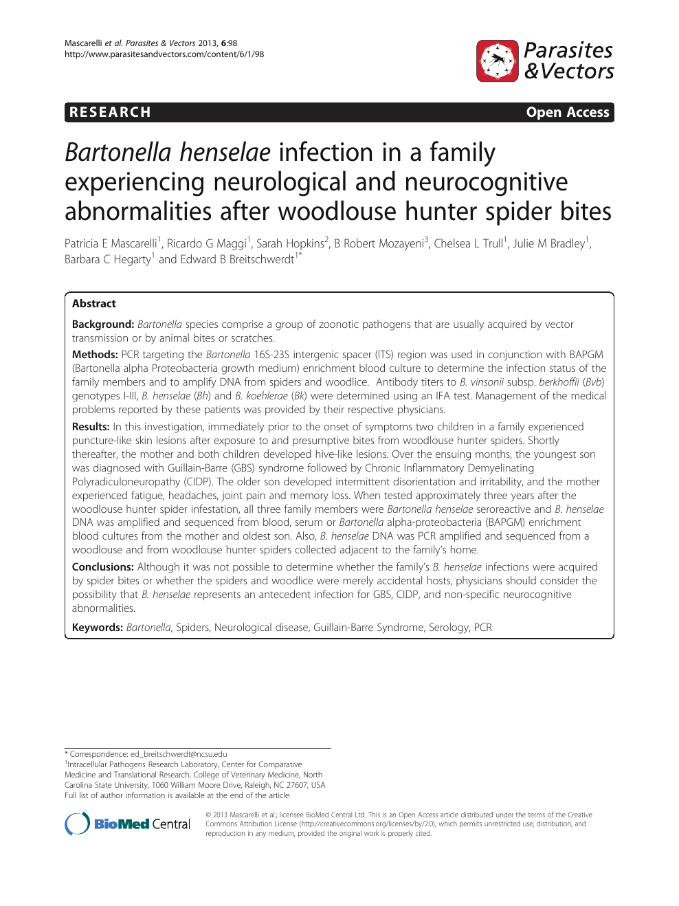 Bartonella henselae infection in a family experiencing