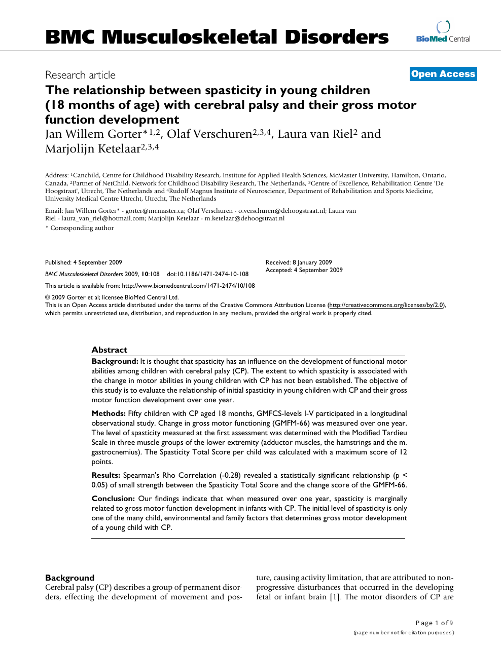 The relationship between spasticity in young children (18