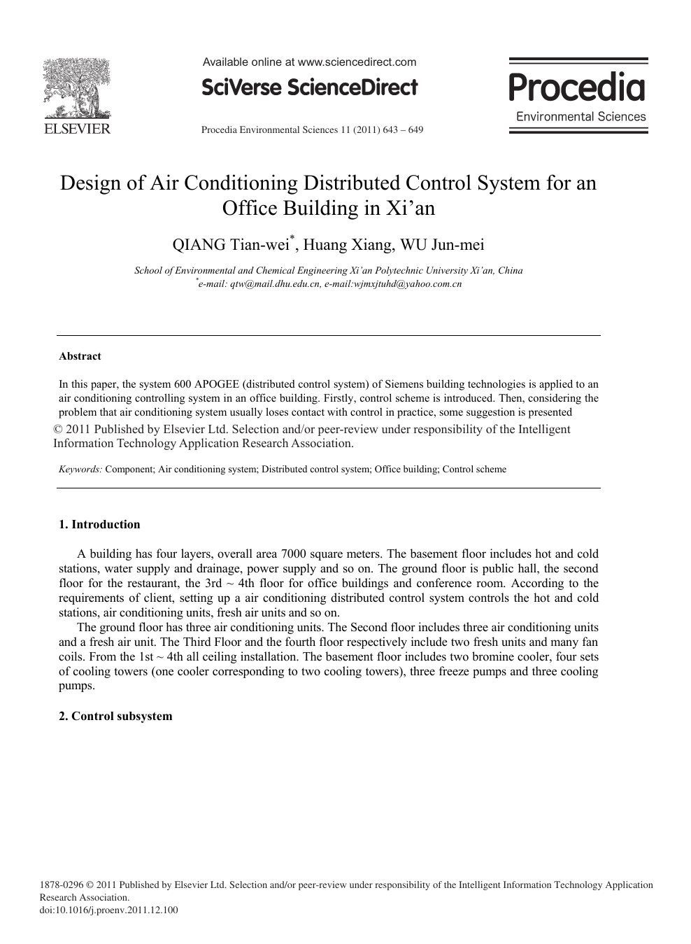 introduction of air conditioning system