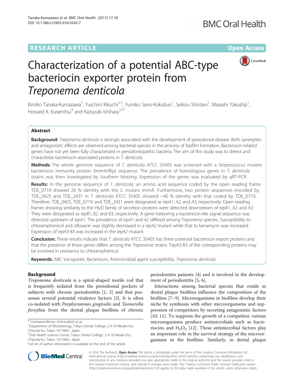 Characterization of a potential ABC-type bacteriocin