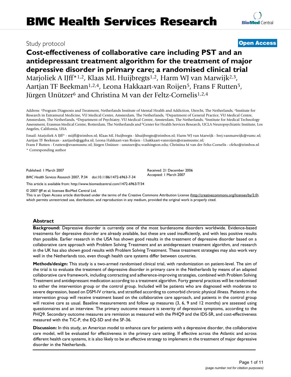 multidisciplinaire richtlijn depressie en diabetes mellitus