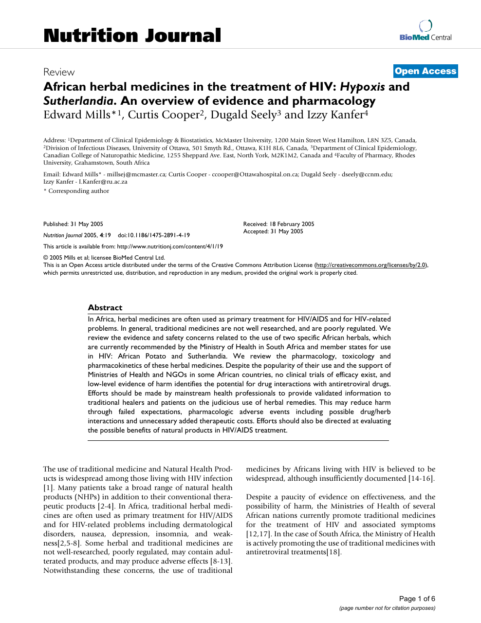 African herbal medicines in the treatment of HIV: Hypoxis