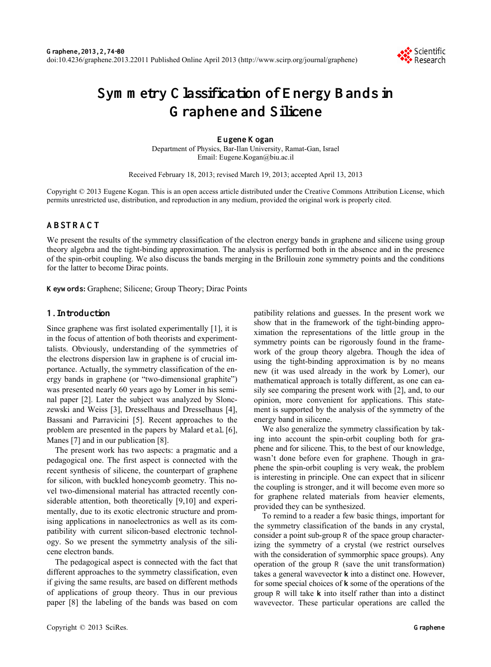 Symmetry Classification of Energy Bands in Graphene and
