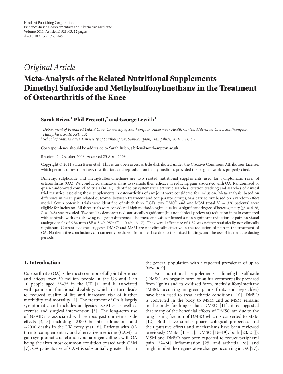 Meta-Analysis of the Related Nutritional Supplements Dimethyl