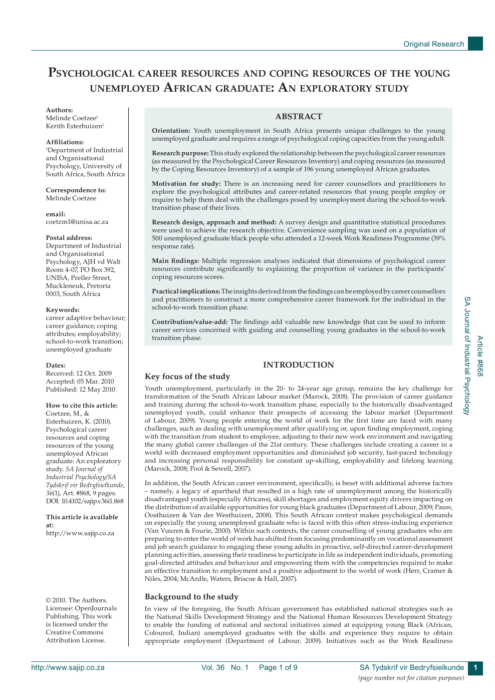 Psychological Career Resources And Coping Resources Of The Young