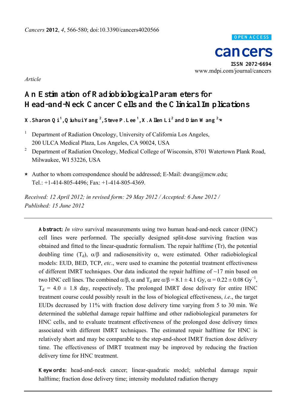 An Estimation of Radiobiological Parameters for Head-and