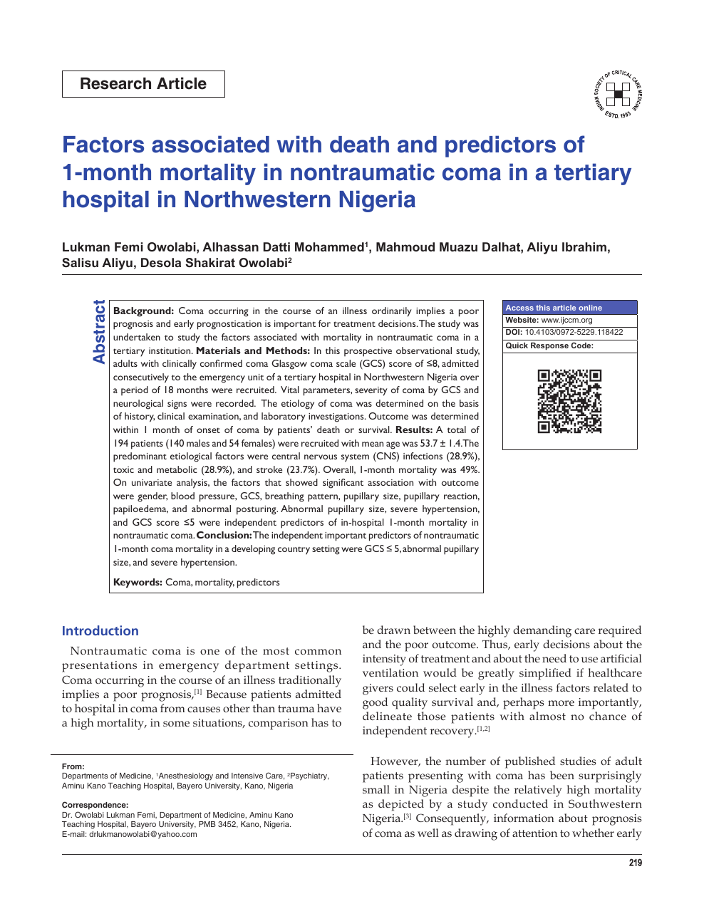 Factors associated with death and predictors of 1-month