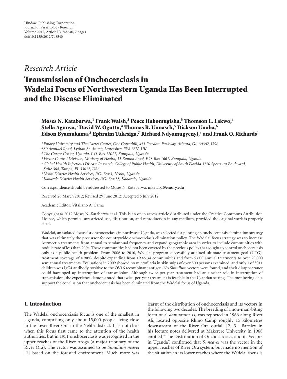 Transmission of Onchocerciasis in Wadelai Focus of