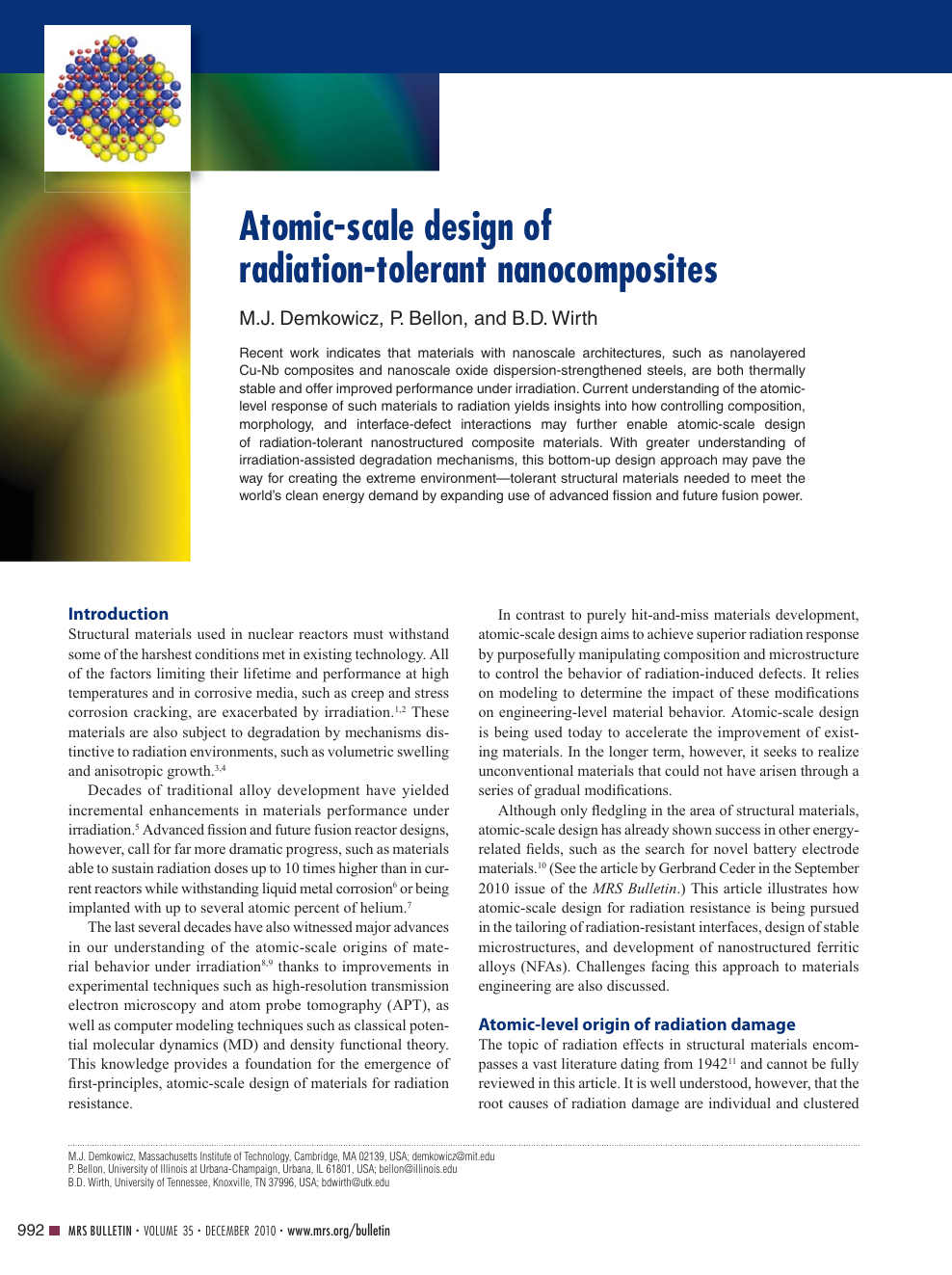 Atomic-scale design of radiation-tolerant nanocomposites – topic of