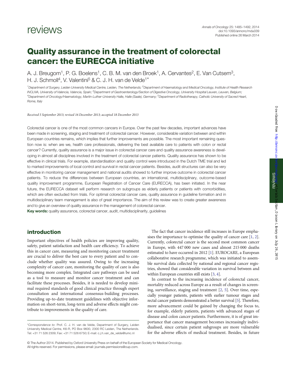 Quality Assurance In The Treatment Of Colorectal Cancer The Eurecca Initiative Topic Of Research Paper In Clinical Medicine Download Scholarly Article Pdf And Read For Free On Cyberleninka Open Science Hub
