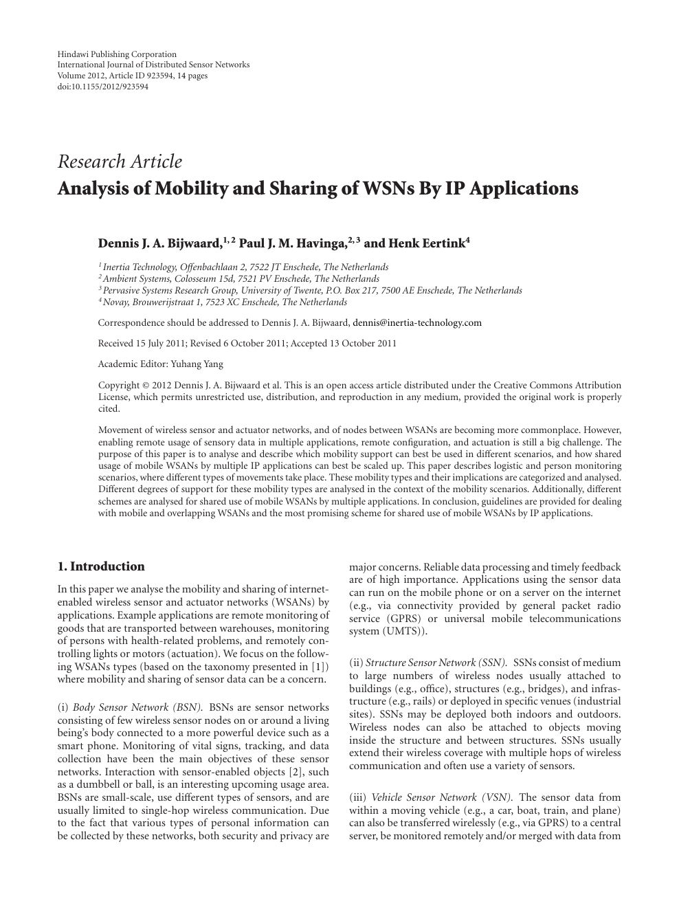 Analysis of Mobility and Sharing of WSNs By IP Applications – topic