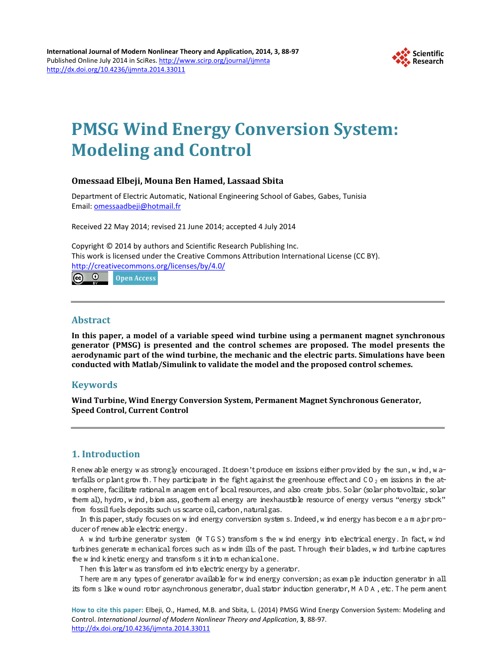 PMSG Wind Energy Conversion System: Modeling and Control