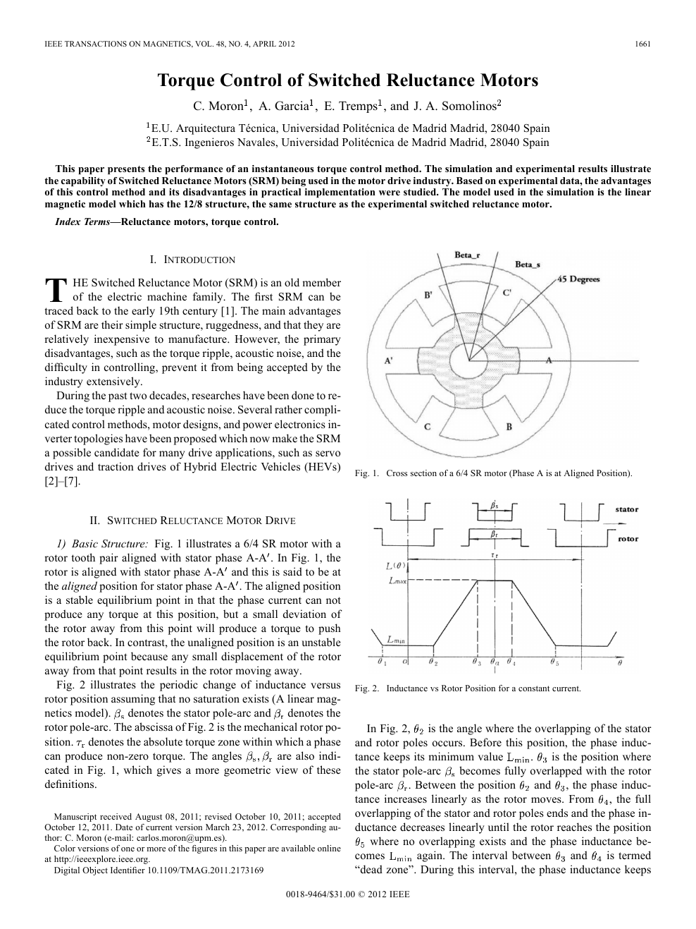 Torque Control of Switched Reluctance Motors – topic of
