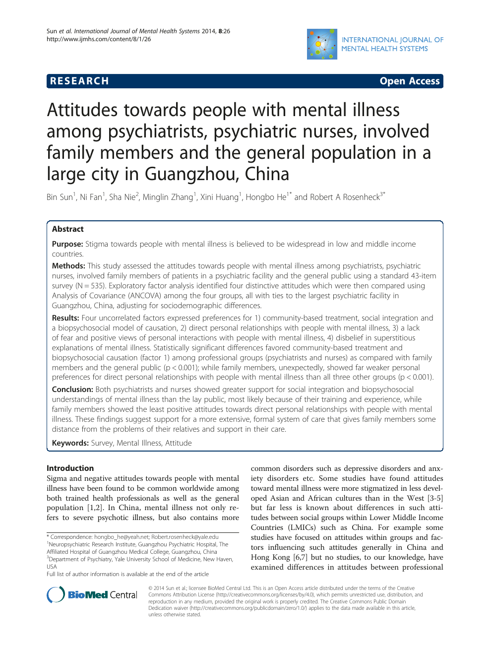 Attitudes towards people with mental illness among