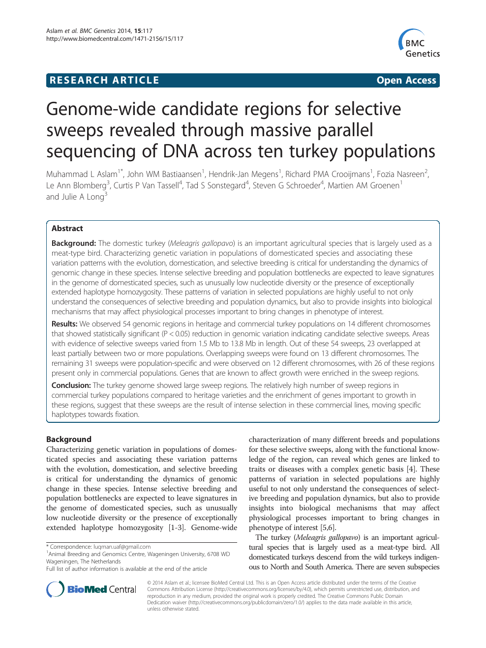 Genome-wide candidate regions for selective sweeps revealed