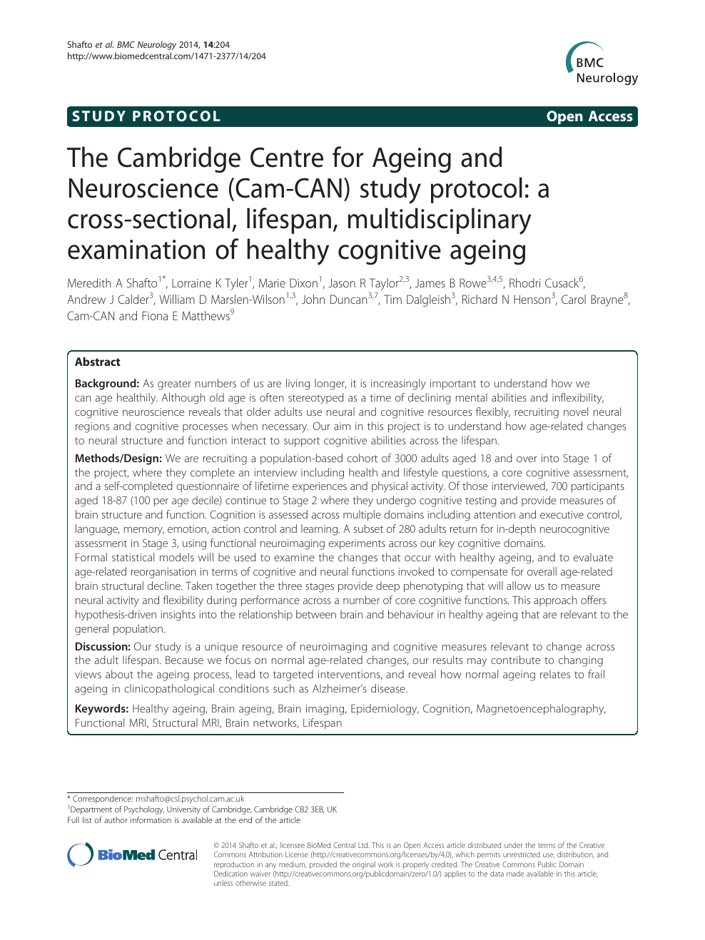 The Cambridge Centre for Ageing and Neuroscience (Cam-CAN